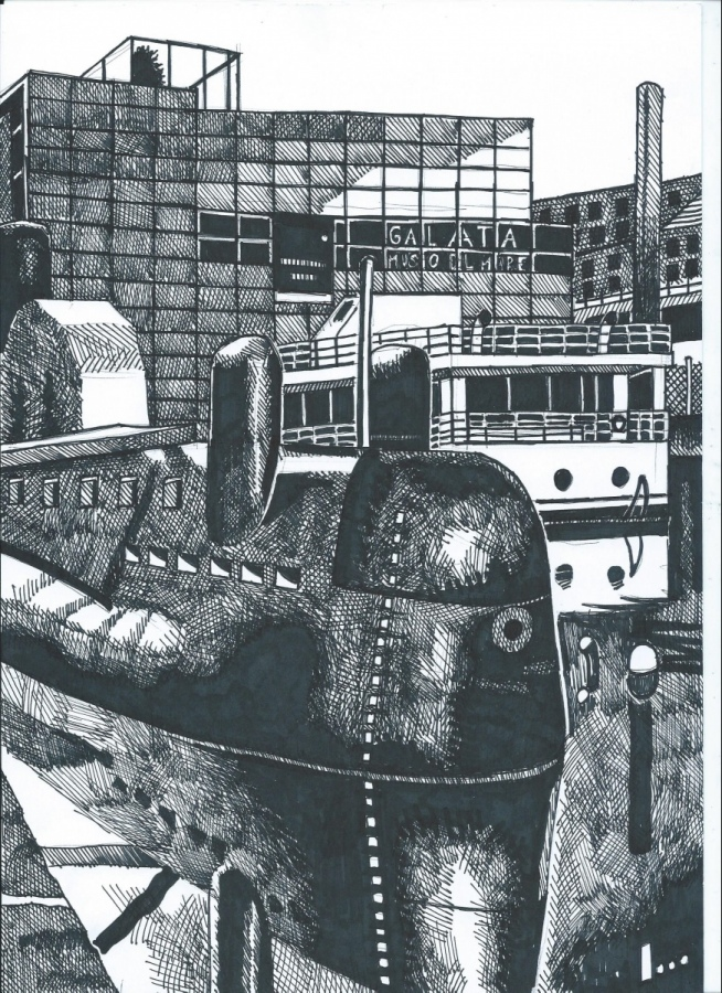 Vi riproponiamo il più ammirato fra i disegni di Belansky, è il Museo Galata