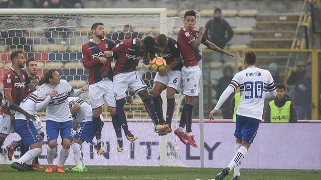 Botta in testa alla Sampdoria a Bologna. La squadra di casa ha giocato al meglio