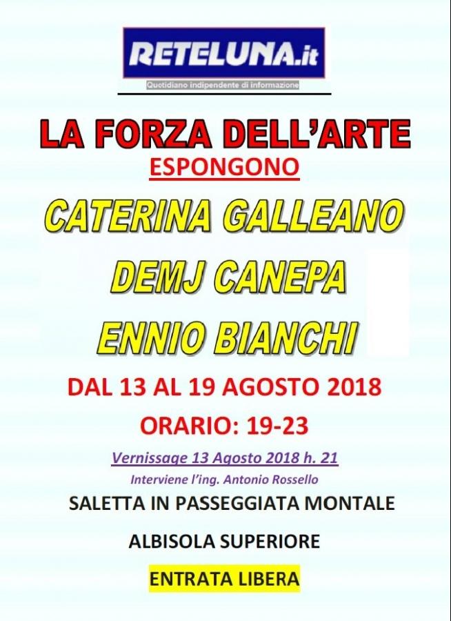 Bianchi, Canepa e Galleano ad Albisola. Vernissage il 13 agosto alle 21