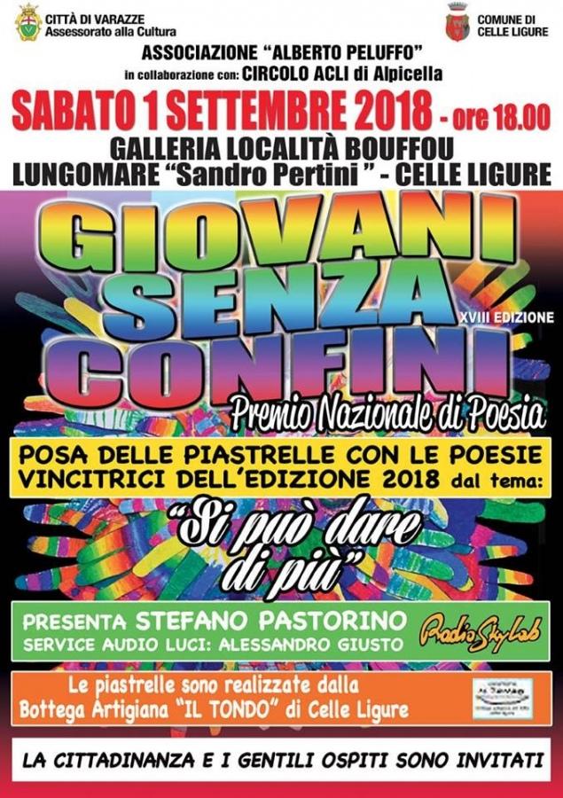 Sabato 1 settembre alle ore 18 Celle Ligure. Presso la galleria in località Bouffou