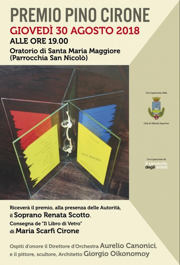 Alla Scotto il premio «Pino Cirone» 2018. Il Centro Culturale «Il Cenacolo degli Artisti»