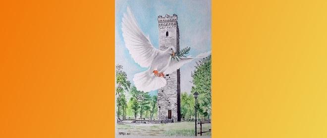 Elsa Ventura Migliorini (in arte EVmiglio). La colomba della pace sulla torre di Denice. 2018